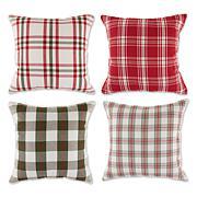 Design Imports Farmhouse Christmas Plaid Pillow Covers 18x18 Set of 4