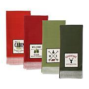 Design Imports Mountain Trails Embellished Kitchen Towel Set of 4