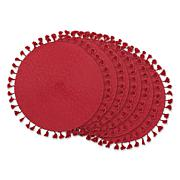 Design Imports Tassel Fringe PP Woven Round Placemat - Set of 6