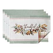 Design Imports Thankful Reversible Embellished Placemat Set of 4