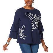 """DG2 by Diane Gilman """"DG Downtime"""" Butterfly Fleece Sweatshirt"""