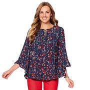 DG2 by Diane Gilman Floral Lace-Up Ruffle Blouse