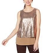 DG2 by Diane Gilman Sequined Easy Tank