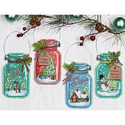 Dimensions Cross Stitch Ornament Kit 4pk - Christmas Jar Ornaments