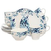 Elama Blue Rose 16-piece Dinnerware Set
