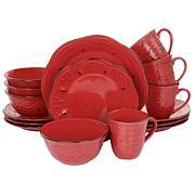 Elama Rustic Birch 16-Piece Stoneware Dinnerware Set in Red