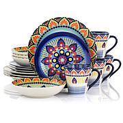 Elama Zen Blue Mozaik 16-piece Stoneware Dinnerware Set