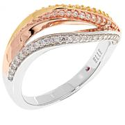 "ELLE ""Ocean"" Tricolor Wave CZ and Sterling Silver Ring"