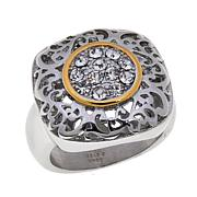 Emma Skye Jewelry  2-Tone Square Filigree Crystal Ring