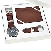 "ESCAPE Men's ""Tahoe"" Leather Strap Watch 3-piece Gift Set"