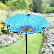 Exhart Glass Flower Bird Bath Garden Stake