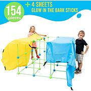 Funphix 154-piece Fort Set with 4 Sheets & Bag - Green/Blue