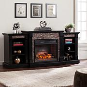 Gallatin Electric Fireplace/Bookcases -Black/Gray