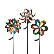 """Gerson Set of 3 Assorted 49"""" Wind Spinners with Solar-Powered Lights"""