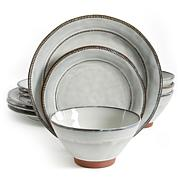 Gibson Home Elite Earth Heart 12-piece Dinnerware Set in White
