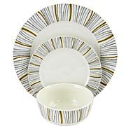 Gibson Home Neutral Geometric Decorated 12-piece Dinnerware Set