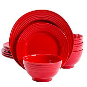 Gibson Home Plaza Cafe Vibrant Red 12-piece Dinnerware Set