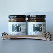 Golden Door 2-pack of Raw Wildflower Honey with Dippers