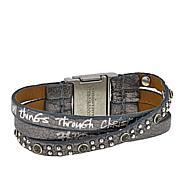"Good Work(s) ""Only Through Christ"" 3-Row Leather Bracelet"