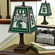 Handpainted Art Glass Table Lamp - Michigan State