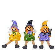 Harvest Lane Set of 3 Pumpkin Sitters with LEDs and Timer