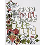 """Heartfelt Be Strong 8"""" x 10"""" Counted Cross Stitch Kit"""