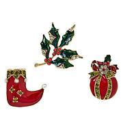 Heidi Daus 3-piece Christmas Pin Set