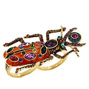 """Heidi Daus """"Big Critter"""" Crystal and Enamel Double Ring"""