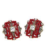 "Heidi Daus ""Chinoiserie Sparkle"" Carved Earrings"
