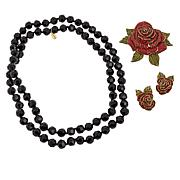 Heidi Daus Crystal Rose Pin, Earrings and Necklace Set