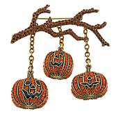 "Heidi Daus ""Hanging Out"" Crystal Pumpkin Drop Pin"