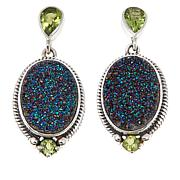 Himalayan Gems™ Green Drusy and Peridot Oval Earrings