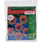"""Holiday Beaded Ornament Kit - Cranberry Wreaths 2.25"""", Makes 8"""