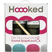 Hoooked Knit and Crochet Pouf Kit with Zpagetti Yarn - Vineyard Green