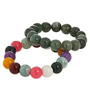 Jade of Yesteryear Jadeite Jade Beaded Stretch Bracelet 2-piece Set