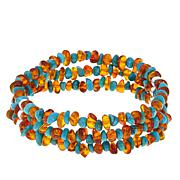 Jay King 3-Strand Turquoise and Amber Stretch Bracelet
