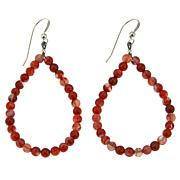 Jay King Carnelian Bead Open Pear Drop Sterling Silver Earrings