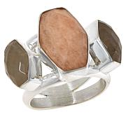 Jay King Sterling Silver Multi-Color Moonstone 3-Stone Ring