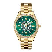 "JBW ""Mondrian"" 16-Diamond Green Dial Goldtone Bracelet Watch"