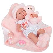 """JC Toys La Newborn 15"""" Real Girl Baby Doll White Outfit & Teddy Bear"""