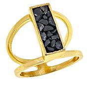 Joya Black Deco Crushed Diamond Rectangular Ring