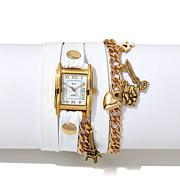 La Mer Paris-Inspired White Leather Wrap-Design Watch