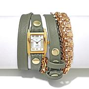 La Mer Pollara Goldtone Chain Sage Leather Wrap Watch