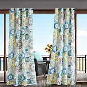Laguna Printed Medallion Single Outdoor Window Panel - Blue Multi