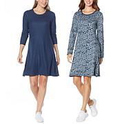 Laila Ali Reversible Long-Sleeve Swing Dress
