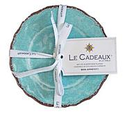 Le Cadeaux Set of 4 Antiqua Textured Appetizer Plates