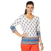 Lemon Way Border-Print 3/4-Sleeve Tunic