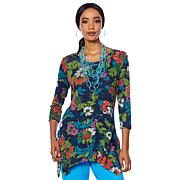 Lemon Way Dream Knit Hacci Printed 3/4-Sleeve Tunic