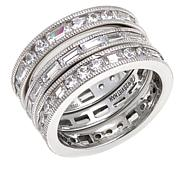 "Leslie Greene Cubic Zirconia ""Dream"" Eternity Band 3-piece Ring Set"