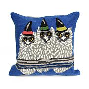 "Liora Manne Frontporch Owl-o-ween 18"" Square Pillow"